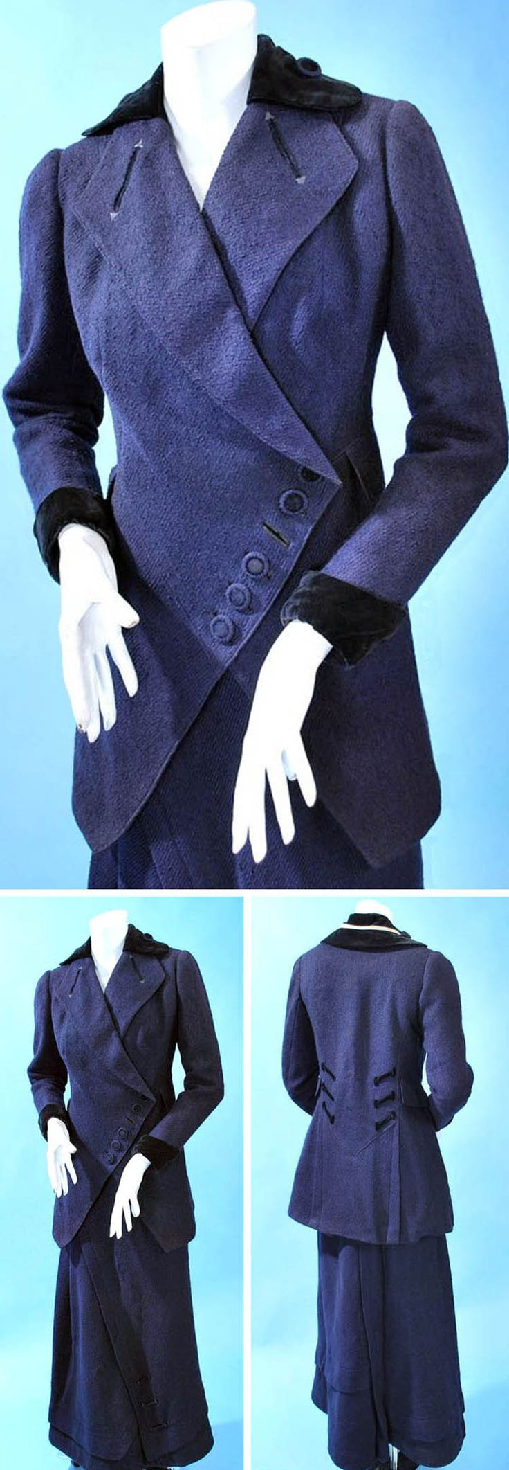 Slubby navy wool walking suit, ca. 1910-15. Imaginative closure design on jacket. Velvet cuffs & collar. Lined in silk satin. Back-closing skirt with topstitched asymmetrical pleat across skirt and along hem. Extant Gowns