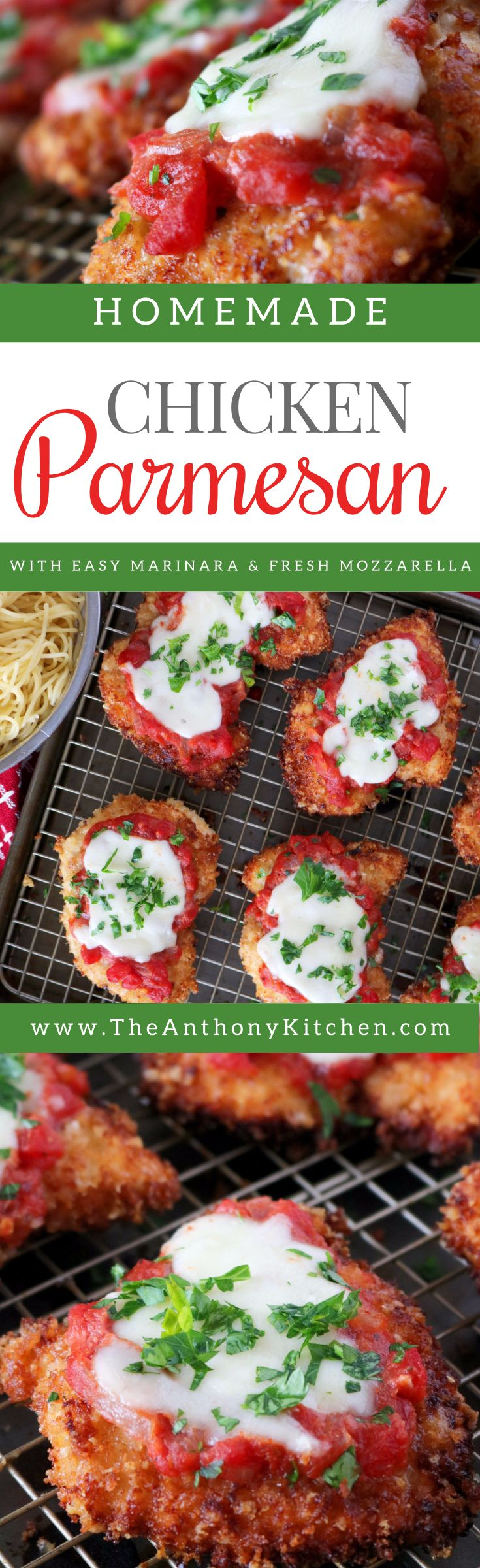 Best Chicken Parmesan | Homemade chicken parmesan featuring a crust made of panko bread crumbs mixed with Parmesan cheese. Topped with marinara and fresh Mozzarella | #easychickenparmesan #familydinneridea #chickendinnerrecipe #bestchickenrecipe