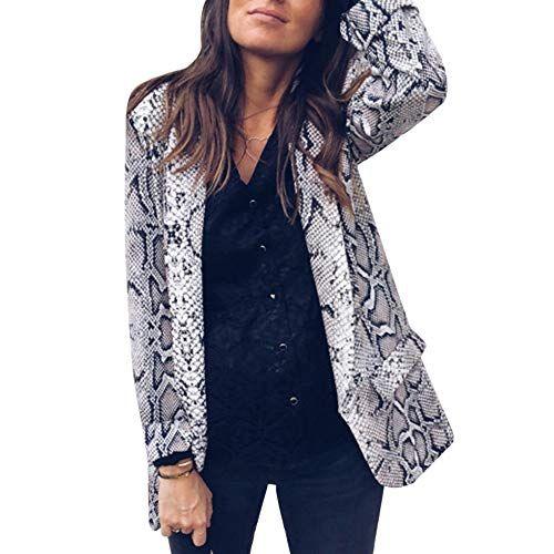 53071efb5c6e wenyujh  Femme Veste Blazer Imprimé Serpent Léopard Haut de Costume Col  Revers Manches Longues