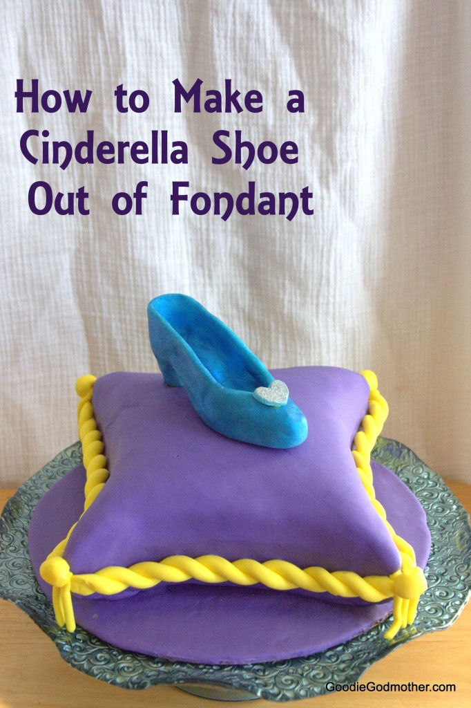 How to make a Cinderella shoe cake topper out of fondant. Blog post contains a video tutorial and helpful tips and tricks!