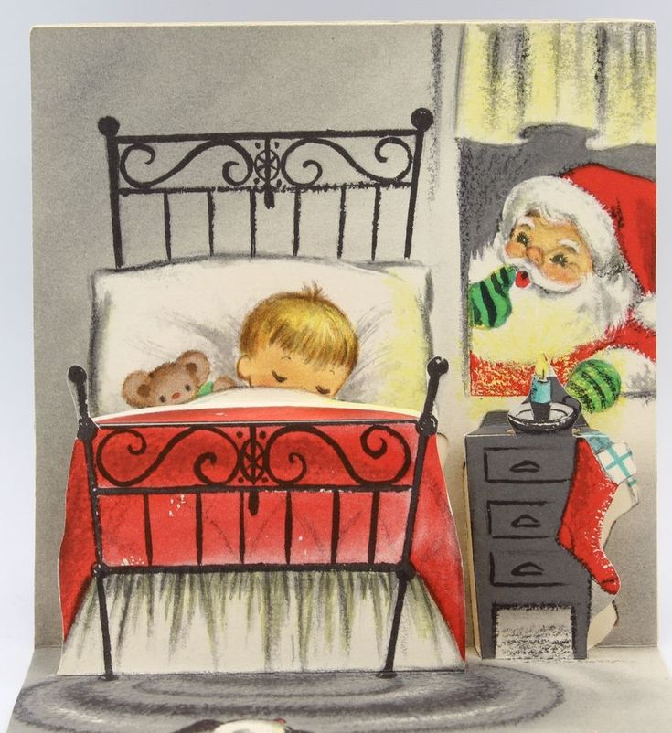 UNUSED Vintage Greeting Card Christmas Little Boy Stairs Santa Pop-Up Inside L16