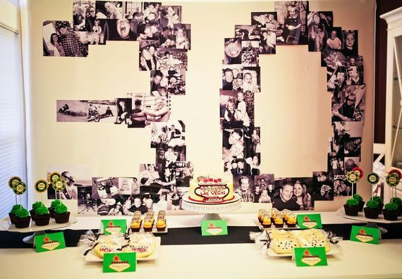 Neat photo display at a Casino Themed 30th Birthday Party {Photo by Lisa Marie Photography}