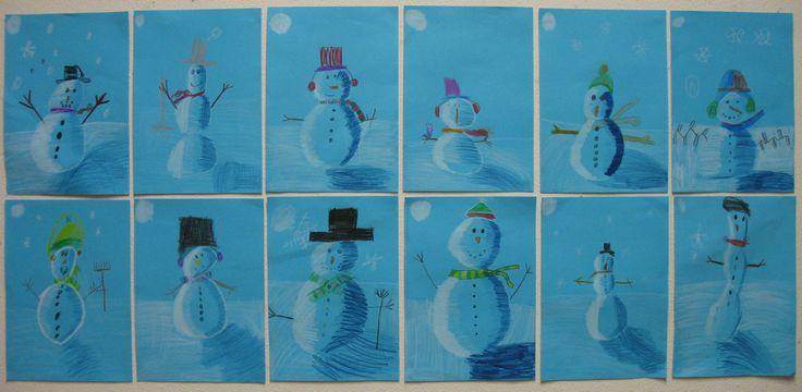 Sneeuwman bij nacht. Groep 4, kleurpotlood op blauw papier. Jan 2014. N.a.v. het digitale prentenboek: What do snowmen at night.