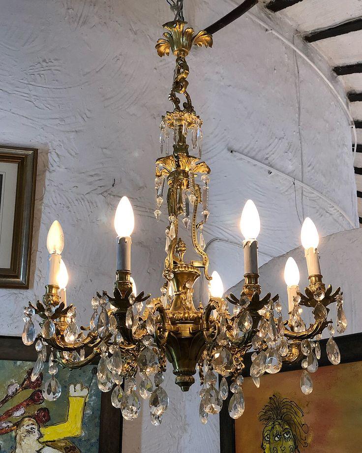 Лампа, Франция, бронза, хрусталь, высота 90 см, диаметр 68 см. Отличное состояние.