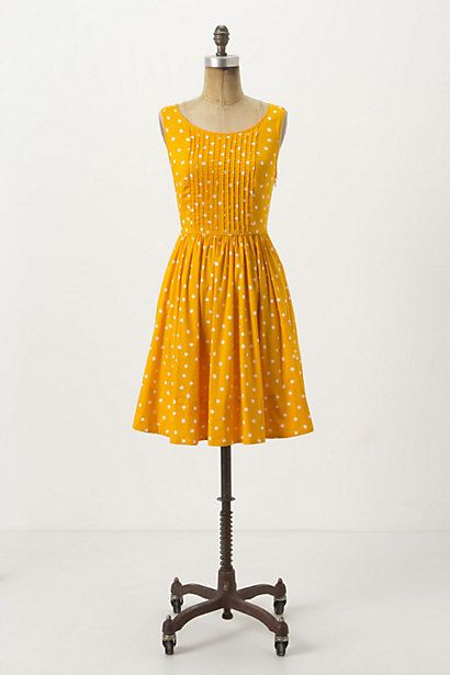 Melora Dress #anthropologie: Summer Dresses, Polka Dots, Yellow Dresses, Color, Moulinett Sister, Anthropology Melora, Melora Dresses, The Dresses, Mustard Yellow