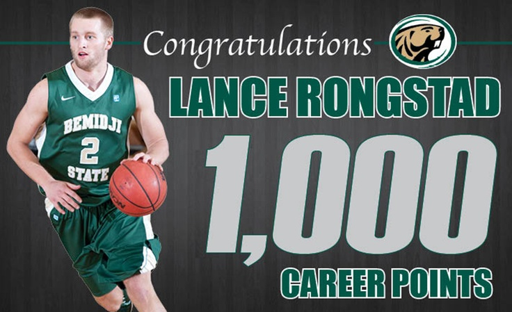Senior Lance Rongstad become the 16th player in Bemidji State University men's basketball history to eclipse the 1,000-point plateau Jan. 18, 2013. Congrats Lance!