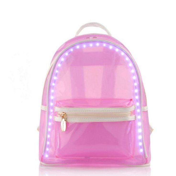 Vrouwen LED Lichtgevende Rugzak PVC Jelly USB Light Up Opladen Roze Schooltassen Transparante Tas Voor Tiener Rugzakken Bolsos Mujer(China (Mainland))