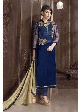 velours bleu salwar kameez, - 114,00 €, #RobeàLaMode #LesRobesIndiennes #TenuBollywood #Shopkund