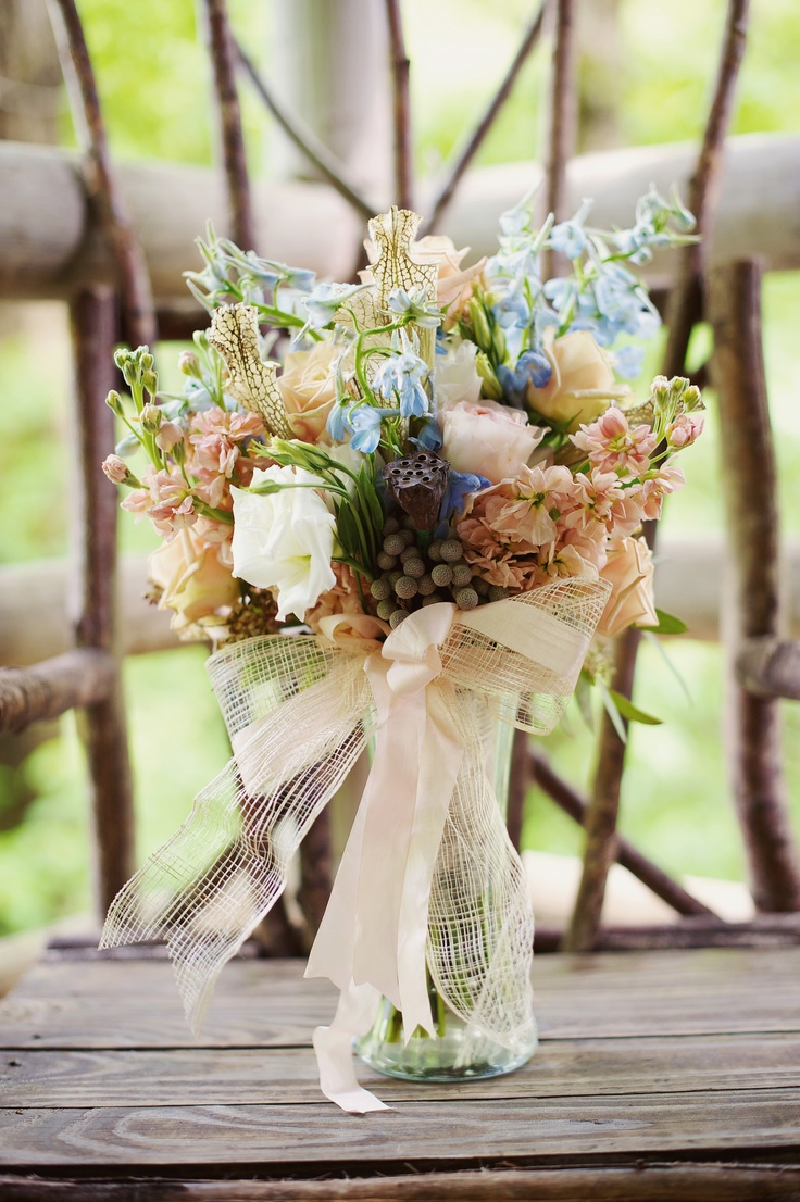Ls- nude :1 7 Powder Blue and Nude wedding bouquet