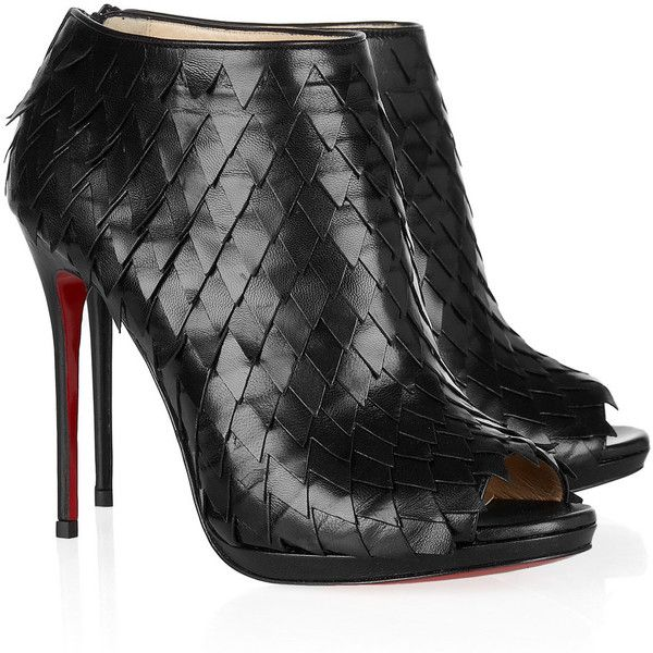 Christian Louboutin Diplonana 120 scale-effect leather ankle boots ($1,595) ❤ liked on Polyvore