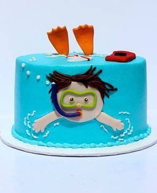 Swimming theme cake, pool party, snorkeling, end of swimming lessons celebration cake, underwater, under the sea, add fish, starfish, jellyfish, etc