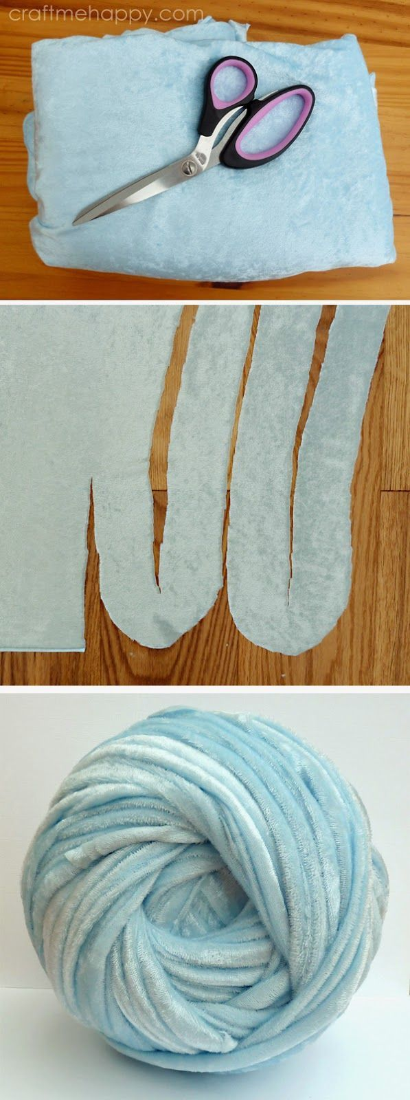 Craft me Happy!: how to make Super Chunky Yarn from Crushed Velvet Fabric