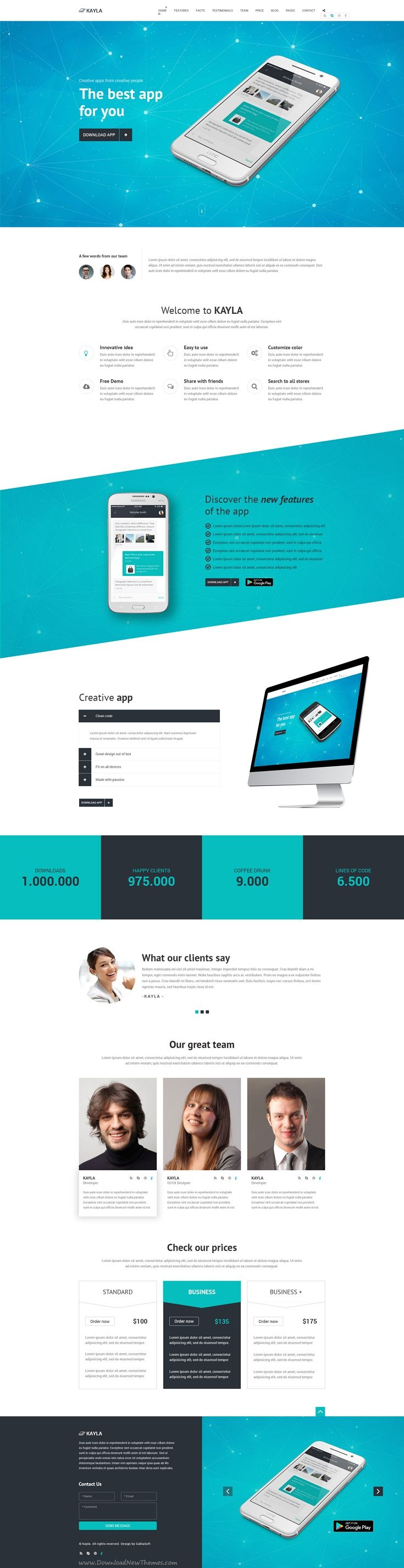 Kayla is stylish and modern premium #PSD template for #onepage #app promoting #website. Download Now!