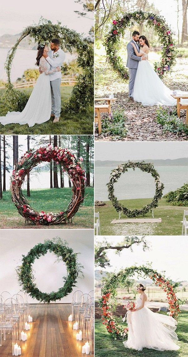 giant wreath circular wedding alter ideas | Diy wedding flowers, Wedding  arch, Wedding decorations