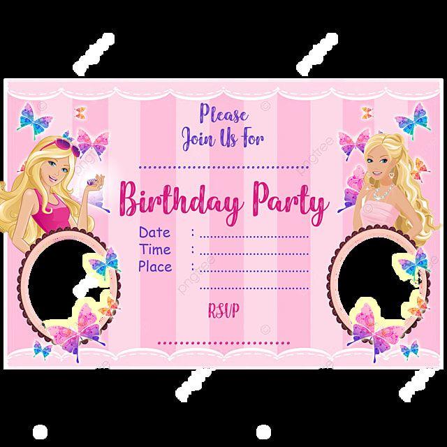 Barbie Birthday Kad Jemputan Barbie Invitations Birthday Invitation Card Template Vintage Wedding Invitation Cards