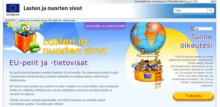 EU: Lasten ja nuorten sivut, pelit  Lasten oikeuksien päivänä