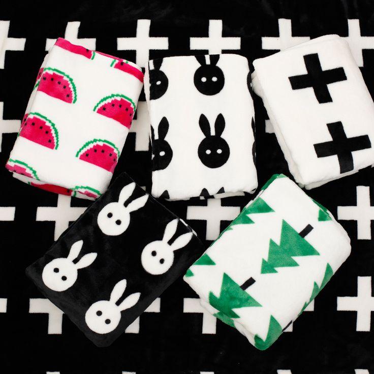 >> Click to Buy << Baby Blanket newborn fleece Black White Rabbit Cross kids bedding Sofa Cobertores Mantas BedSpread Bath Towels baby swaddle wrap #Affiliate
