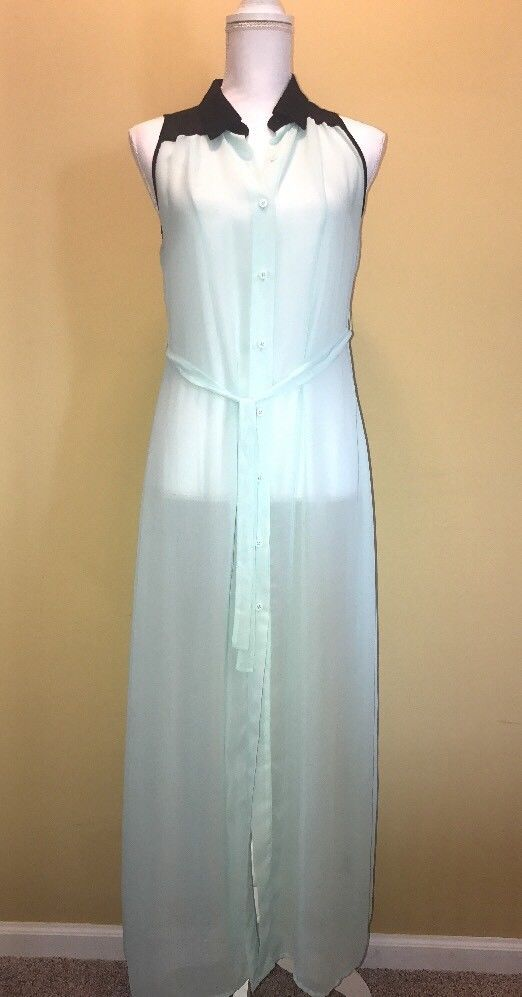 Kardashian Kollection Women's Small Sheer Mint Button Down Dress Sleeveless  | eBay