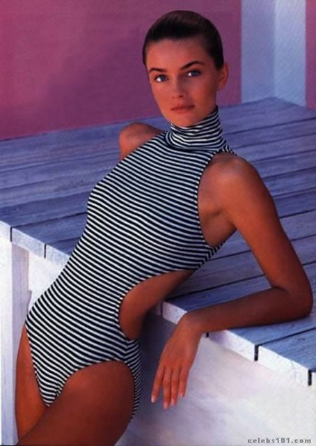 Paulina Porizkova 1980s swimsuit. It has the high v at the sides almost to the waistline.