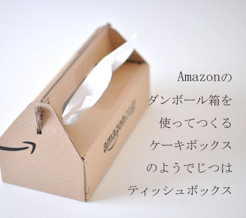 Amazon package remake to tissue box like a cakebox. (U・ω・)作りたい!