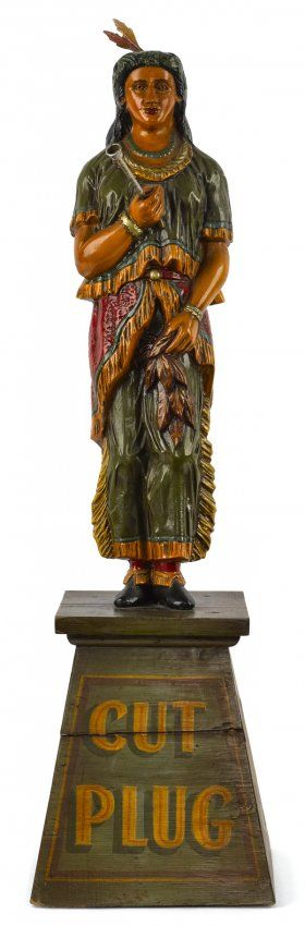 Cast iron table top cigar store Indian maiden, c : Lot 865