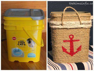Cat Litter Bucket into Nautical Storage Tote (Tutorial)
