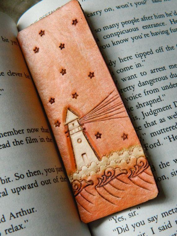 Leather Bookmark  Ocean Lighthouse Design  by CoastalMaineCreation