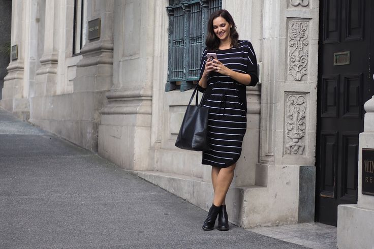 5 fabulous knits that wont add bulk including this Mineral wrap front dress.