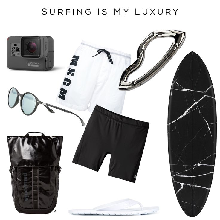 Surfing is my luxury - Clockwise: Swim Shorts by MSGM , ARCUS Carabiner by @svorndesign,  Marble print Surf board by WAX SURF Co., Under surf Shorts by PATAGONIA, Flip Flops by DIESEL, Backpack by PATAGONIA, Sunglasses by RAY-BAN, HERO5 Camera by GoPro // #surf #patagonia #carabiner #keychain #luxury #mensfashion #backpack #summer #sports #gopro #surfing #sun