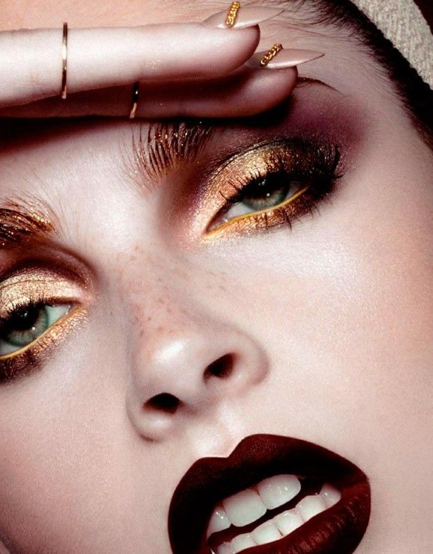 Glitter Makeup - Caroline Schurch pulls off an abundance of glitter makeup in 'Starfall,' Numero Russia's bold image series. The beauty feature ce...