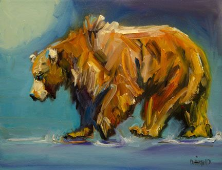 Diane Whitehead - Art Out West - Not a Painting a Day: BEAR MOONLIGHT ARTOUTWEST DAILY PAINTING NOVEMBER 30 DIANE WHITEHEAD WILDLIFE ANIMAL ART