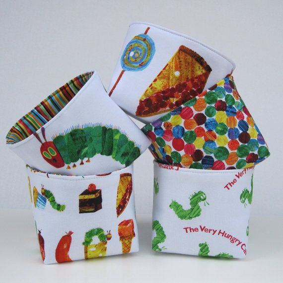 Mini Fabric Storage Organizer Bins Baskets - Very Hungry Caterpillar Fabrics  - Set of 5. $45.00, via Etsy.