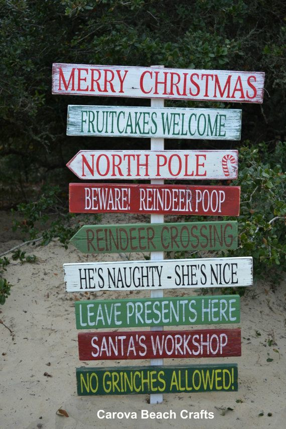 Holiday Decor Custom Christmas Outdoor Decor Yard Signs Driftwood Hand Painted by CarovaBeachCrafts