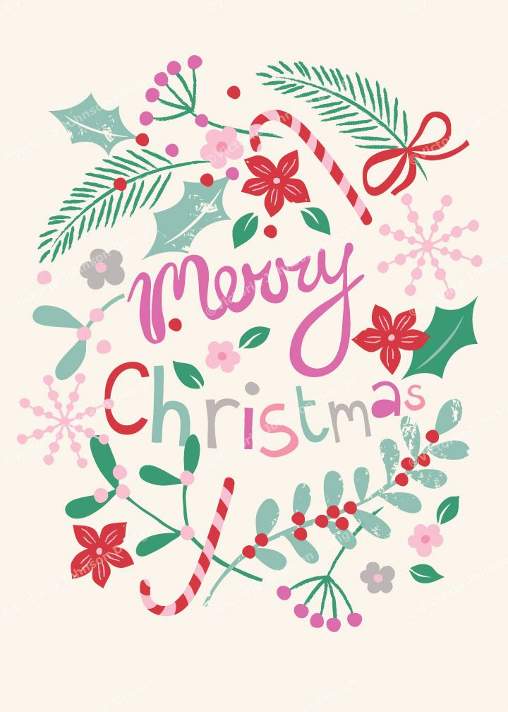 merry christmas wreath design illustration print greetings card victoriajohnsondesign.com