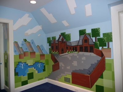 Minecraft mansion with pond mural.