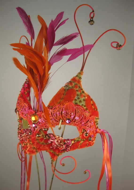 Orange and Red Masquerade Mask by leopardsleap on Etsy