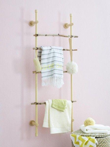 Wohin mit der alten Gardinenstange? Nicht auf den Sperrmüll! Wir haben eine einfach DIY-Idee wie ihr daraus ein hübsches Wandregal fürs Badezimmer basteln können.
