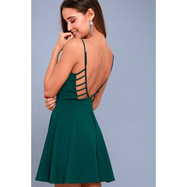 Lulus  Generosity Forest Green Skater Dress ($59) ❤ liked on Polyvore featuring dresses, green, skater skirt dress, blue skater skirt, pleated skater skirt, blue dress and sexy blue dress