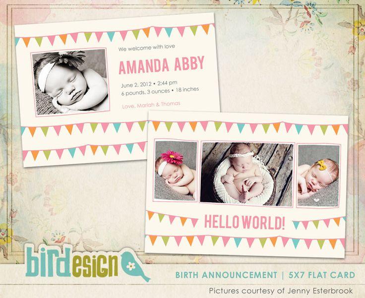 Birth Announcement | Birth Celebration | Photoshop templates for photographers by Birdesign