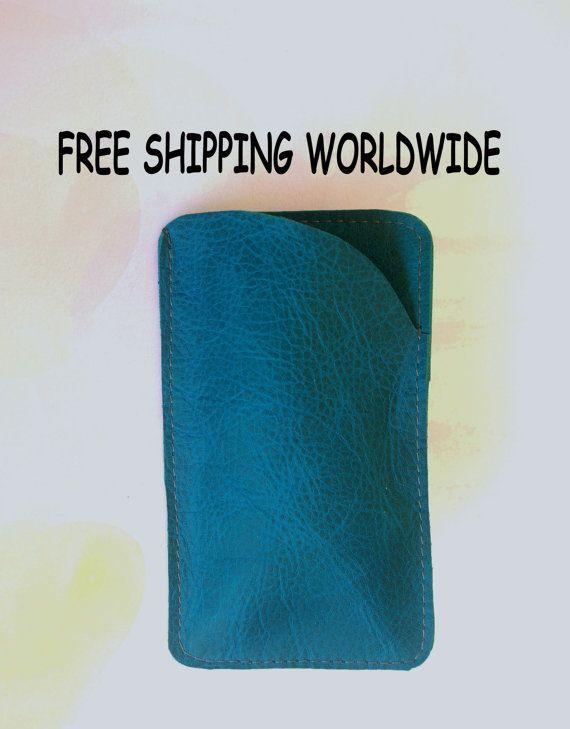 Vintage turquoise leather sunglasses case, glass case, leather sunglass case, leather sunnies case, vintage vintage leather pouch