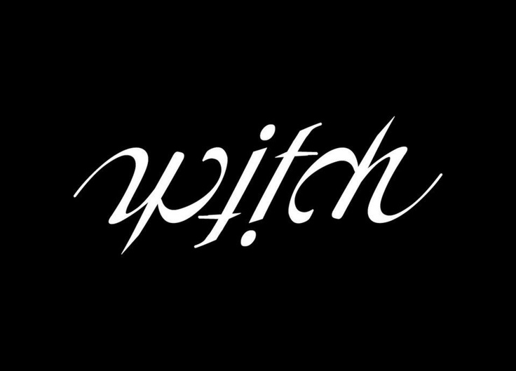 Witch 180º rotational ambigram design. © Derren Lee Poole 2012. All rights reserved.    #ambigram #inversion #phunkmonster