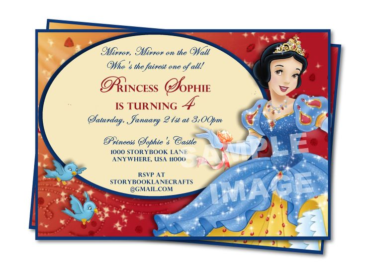 61 best Snow White Birthday Theme images – Snow White Party Invitations