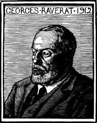 man jewelry Gwen Raverat wood engraving Portrait of Georges Raverat 110 x 86mm  block cut 1912