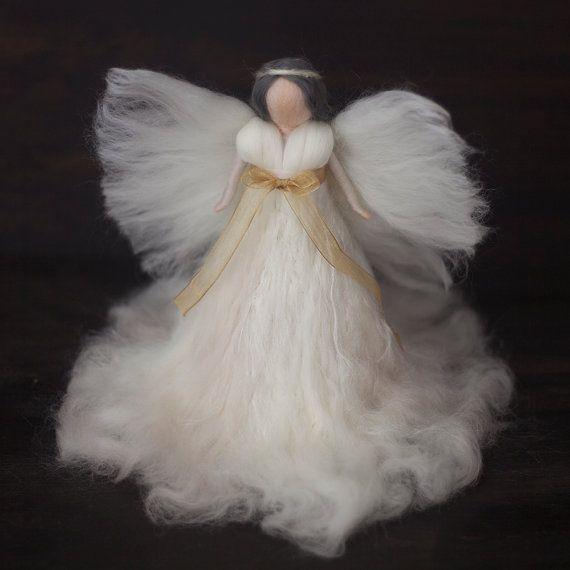 Needle Felted-Large Tree topper Angel White-Silk , magic wool by FeltandGrain