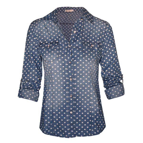 Γυναικείο jean πουκάμισο πουά.Δες το εδώ-->  http://be-casual.gr/gynaika/poukamisa/poukamiso-jean-poua.html