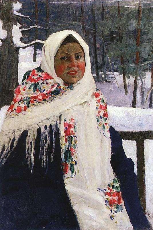 Игорь Эммануилович Грабарь (1871-1960) - Девушка в русском платке