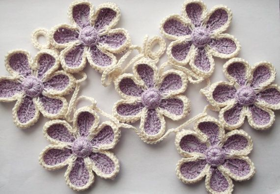 flower garland nursery decoration crochet flower by SuzieSue1972, £15.00