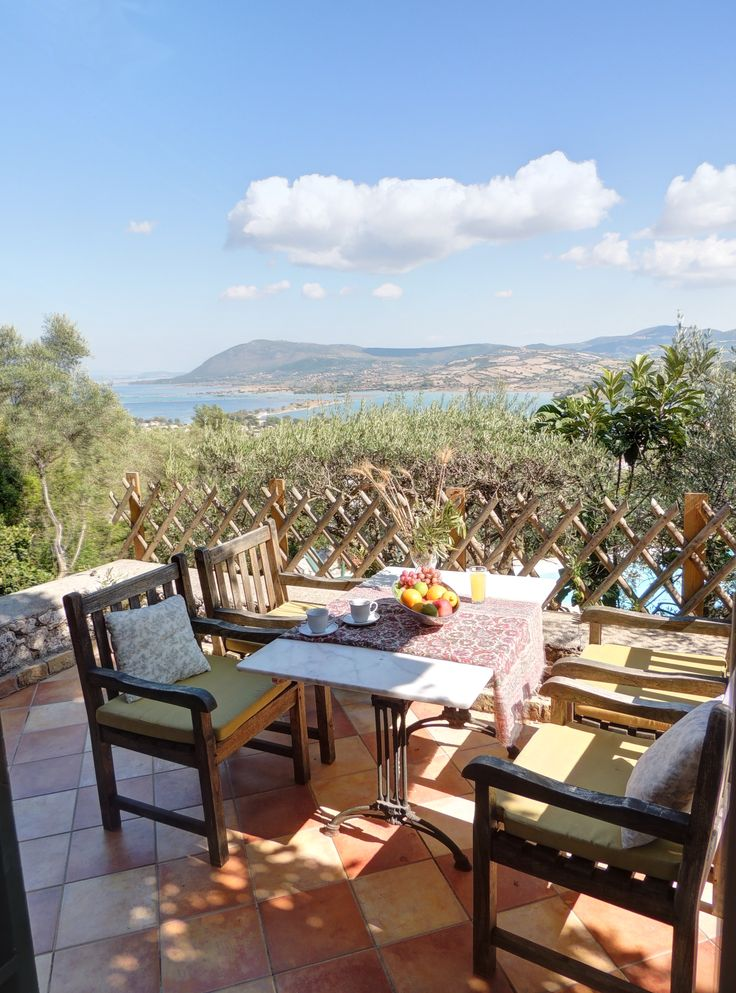 terrace with panoramic sea view.. Lefkada, Ionian islands, Greece