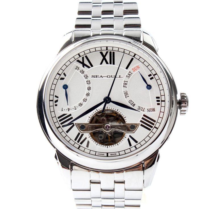 335.80$  Watch here - http://ali59d.shopchina.info/1/go.php?t=32815185150 - Seagull Retrograde Date Flywheel Roman Numerals Self-wind Skeleton Automatic Mechanical Men's Dress Watch 816.521  #aliexpressideas