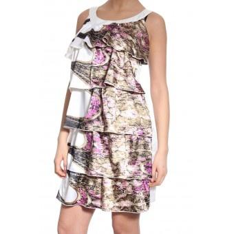 Rochie alba midi din satin cu print floral si volane